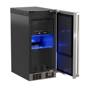 """Marvel15"""" Clear Ice Machine with Tri-Color Illuminice Lighting - Stainless Steel Framed Glass Door, Left Hinge, Professional Handle"""