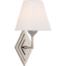 Visual Comfort AH2050PN-PL Alexa Hampton Bettina 8 inch Polished Nickel Sconce Wall Light, Alexa Hampton, Natural Percale Shade