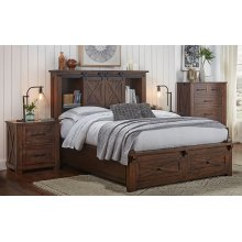 KING BED WITH STORAGE HEADBOARD AND FOOTBOARD