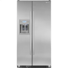 "72""(h) Cabinet Depth Side-By-Side Refrigerator with Dispenser, Euro-Style Stainless Handle"