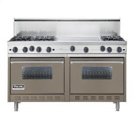 "Stone Gray 60"" Open Burner Commercial Depth Range - VGRC (60"" wide, six burners 24"" wide griddle/simmer plate)"