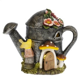 Watering Can House LED Solar Garden Statue