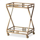 Baxton Studio Laurent Modern and Contemporary Antique Gold Finished 2-Tier Mobile Bar Cart Product Image