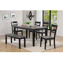 DLU-EB3660-C200-BN6PC  6 Piece Dining Set  4 Chairs  Bench