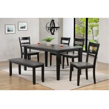 DLU-EB3660-C200-BN6PC  6 Piece Dining Set  4 Chairs  Bench