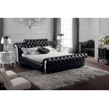 Modrest Retro - Contemporary Black Tufted Leatherette Bed