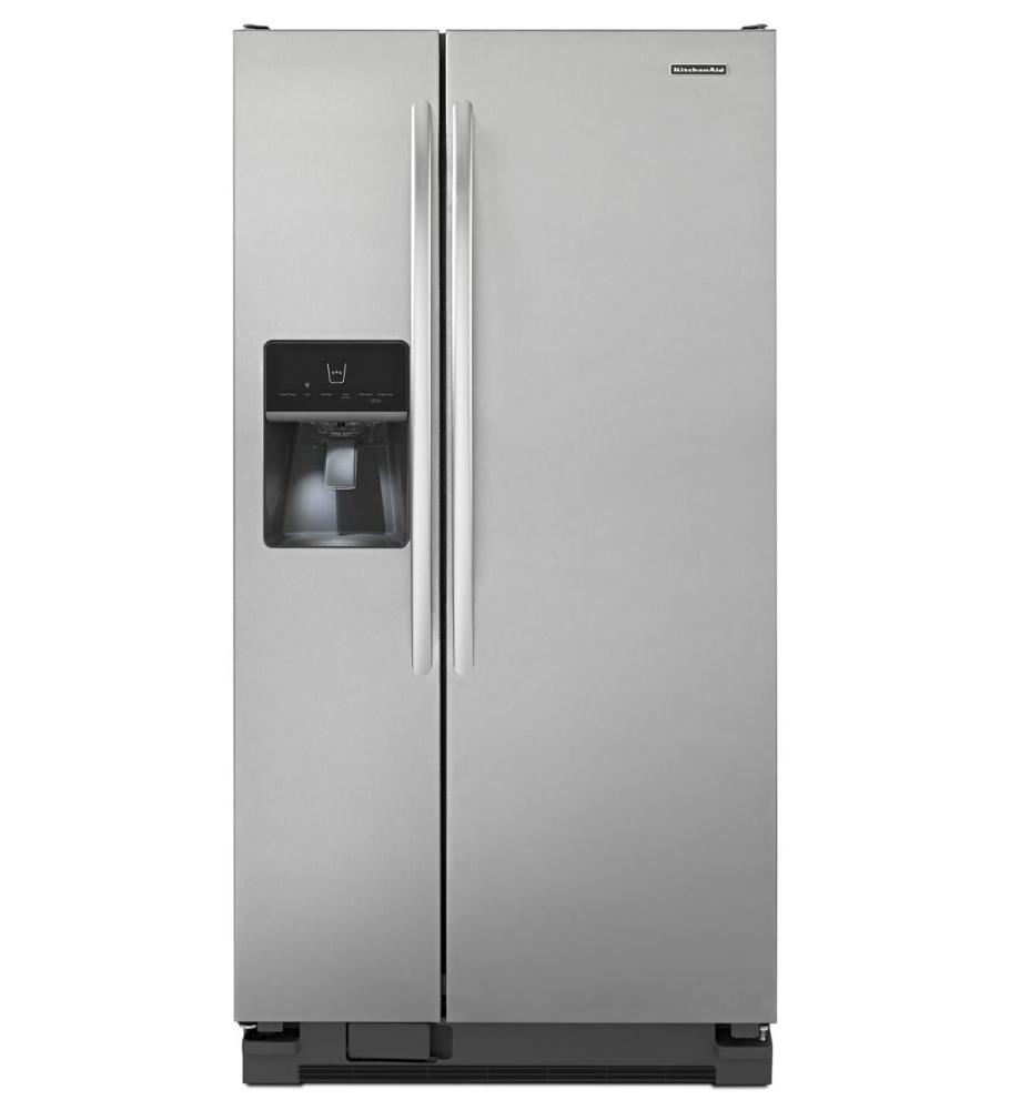 Kitchen Refrigerators Steel Silver Stylish Striped Carpet