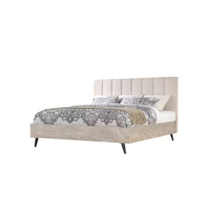 Complete Bed 5/0 Queen W/uph Headboard-white Linon #anna Yt-fb-rails-slats Sterling Finish