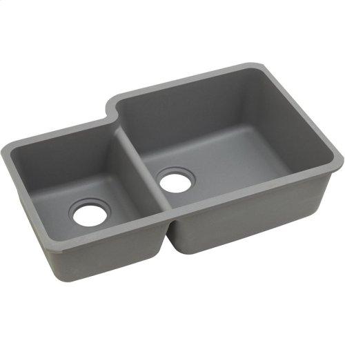 "Elkay Quartz Classic 33"" x 20-11/16"" x 9"", Offset 40/60 Double Bowl Undermount Sink, Greystone"