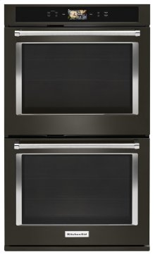 "Smart Oven+ 30"" Double Oven with Powered Attachments and PrintShield Finish - Black Stainless"