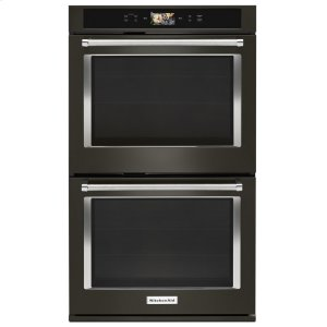 "KitchenaidSmart Oven+ 30"" Double Oven with Powered Attachments and PrintShield Finish - Black Stainless"
