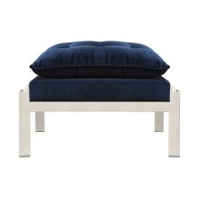 Nickel and Navy Velvet Ottoman To Pair With the Cameron Nnavy Chair