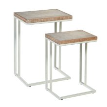 2 pc. set. Whitewash Wavy Pattern Top Nested Side Table. (2 pc. set)