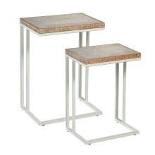 2 pc. set. Whitewash Wavy Pattern Top Nested Side Table. (2 pc. set)
