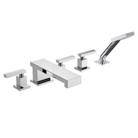 Uncoated Polished Brass - Living Roman Tub Faucet with Hand Shower