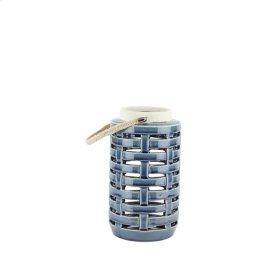 """Ceramic Lattice Weave Lantern9"""",blue"""