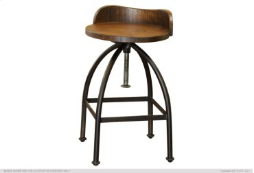 "24-30"" Adjustable Height Swivel barstool with wooden seat,Iron base"