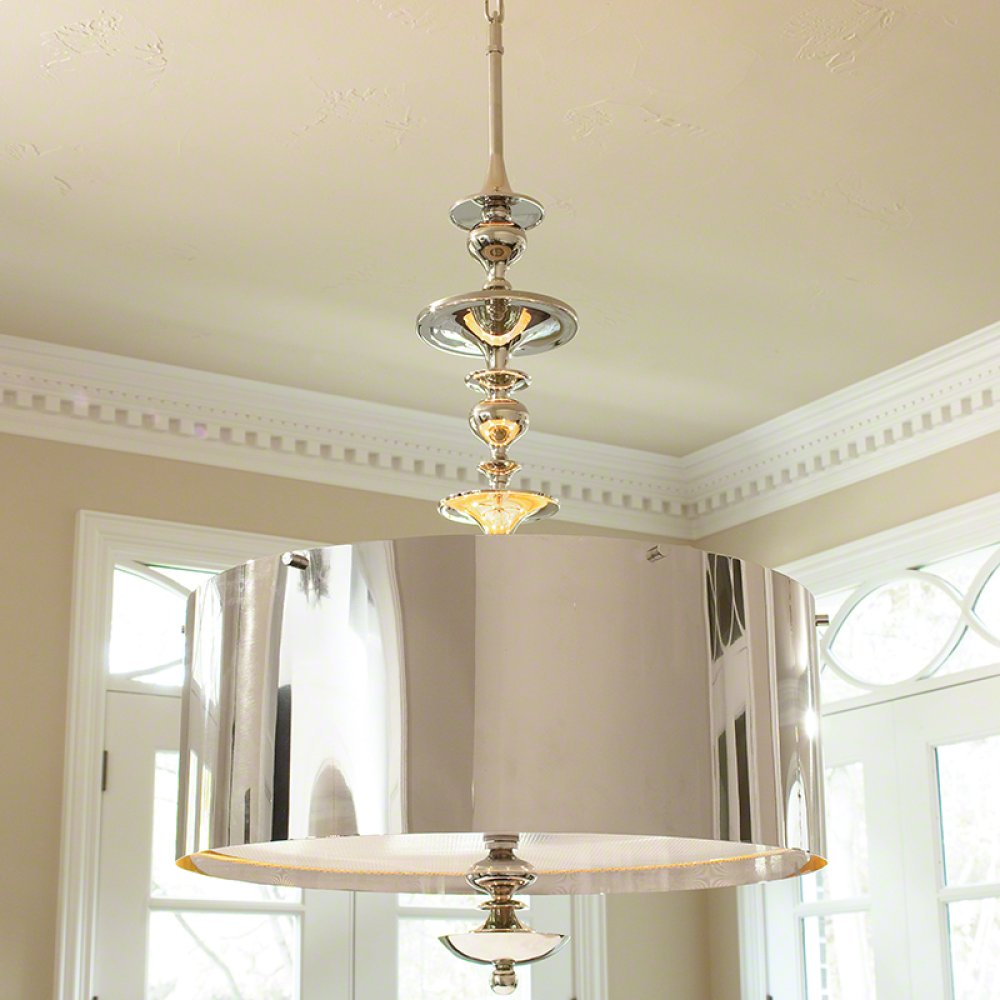 Turned Pendant Chandelier-Nickel-Lg