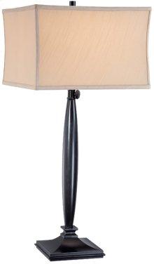 Table Lamp, Dark BRONZE/L.BEIGE Fabric Shade, E27 Cfl 23w