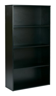 """Prado 60"""" 4-shelf Bookcase With 3/4"""" Shelves and 2 Adjustable/ 2 Fixed Shelves In Black"""