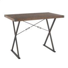 Prep Counter Table - Antique Metal, Brown Bamboo