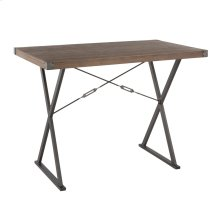 Prep Counter Table - Antique Metal, Brown Bamboo