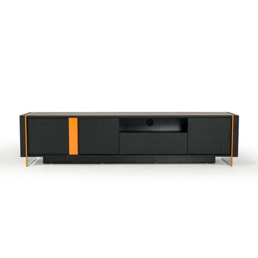 Modrest Vision - Modern Black Oak Floating TV Stand