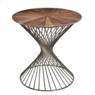 Bengal Manor Twist Metal Round Accent Table w/ Pie Cut Wood Top Product Image