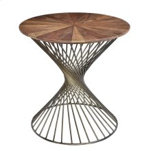 Bengal Manor Twist Metal Round Accent Table w/ Pie Cut Wood Top