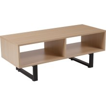 Hyde Square Collection Beech Wood Grain Finish TV Stand and Media Console with Black Metal Legs