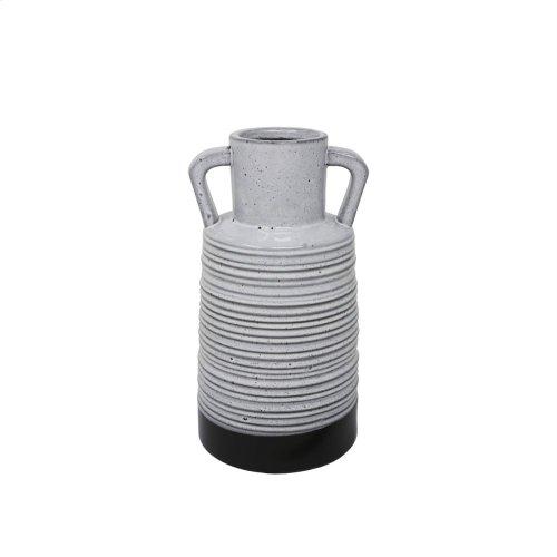 "Ceramic 11"" Handle Vase, Gray"