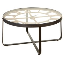 Clock Coffee Table with Tempered Glass