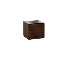 This sleek, streamlined design features a horizontal pattern on opium brown wood with a black glass top and wood block feet.