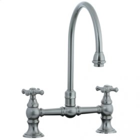 Highlands - Hi-Rise Exposed Gooseneck Kitchen Faucet - Polished Chrome