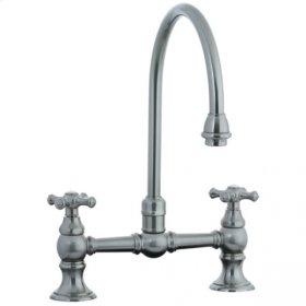 Highlands - Hi-Rise Exposed Gooseneck Kitchen Faucet - Aged Brass