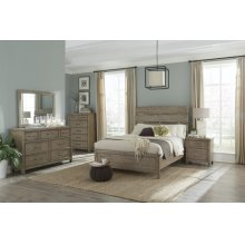 Harper Falls Lodge Grey King Bedroom Set: King Bed, Nightstand, Dresser & Mirror