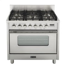 "Stainless Steel 36"" Dual Fuel Range with Convection Oven"