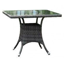 """Spectrum 36"""" Square Dining Table KD w/grey tempered glass"""