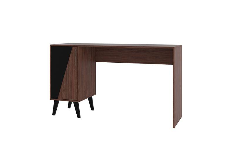Hogan 2- Shelf Mid Century Office Desk in Dark Brown