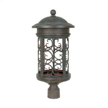 "11"" Post Lantern - Dark Sky in Mediterranean Patina"