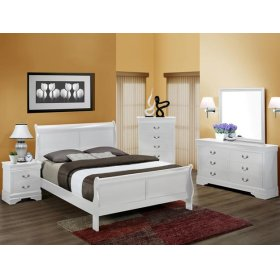 5Pc. Louis Philip White Bedroom Suite