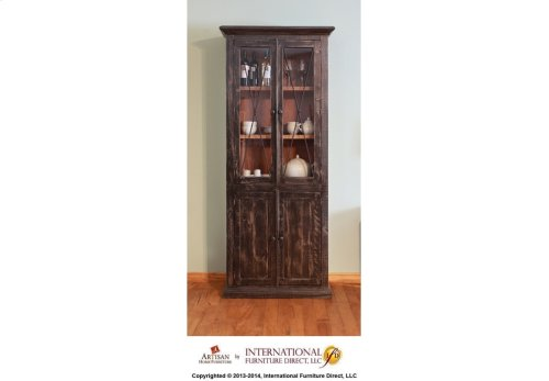 Cabinet w/2 Glass doors, 2 wood doors - Black finish