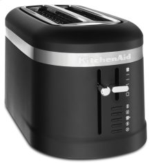 4 Slice Long Slot Toaster with High-Lift Lever - Black Matte