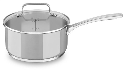 Stainless Steel 3.0 Quart Saucepan with lid - Polished Stainless Steel