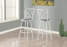 BARSTOOL - 2PCS / SWIVEL / WHITE / GREY FABRIC SEAT