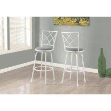 BARSTOOL - 2PCS / SWIVEL / WHITE / GREY FABRIC SEAT