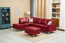Maya Red Sectional with Storage Ottoman