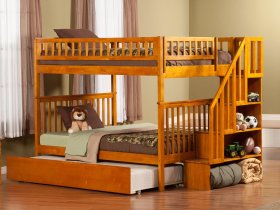 Woodland Staircase Bunk Bed Full over Full with Urban Trundle Bed in Caramel Latte