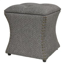 Amelia Nailhead Storage Ottoman, Gray Honeycomb