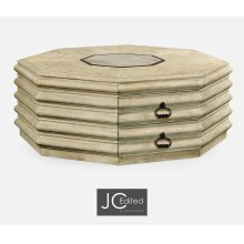 Octagon Limed Acacia Coffee Table